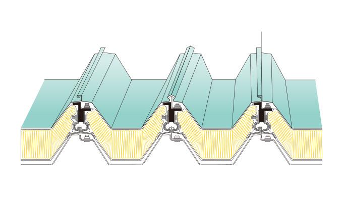KBハゼ折板二重葺断熱工法(耐火構造) KBハゼ300・KBハゼ600