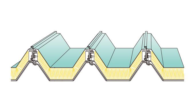 KBハゼ折板二重葺断熱工法(耐火構造)KBハゼ500・KBハゼ550・KBハゼ333